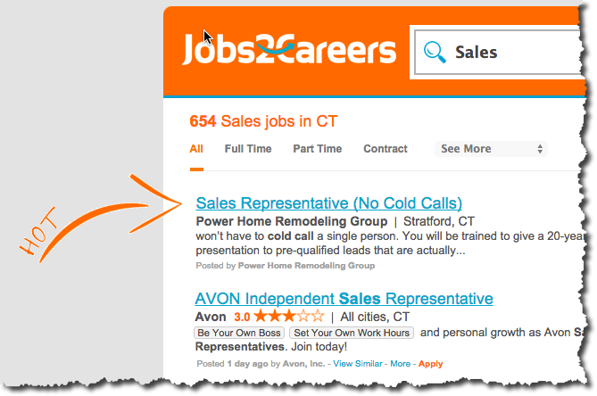 "I love how they call out ""Hot Jobs"" with that arrow, great design!"
