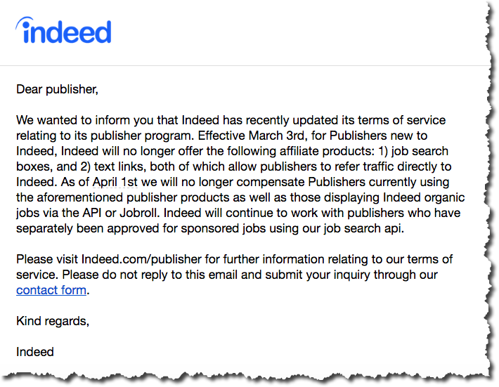 Indeed Axes Some Affiliate Programs for Publishers | Job