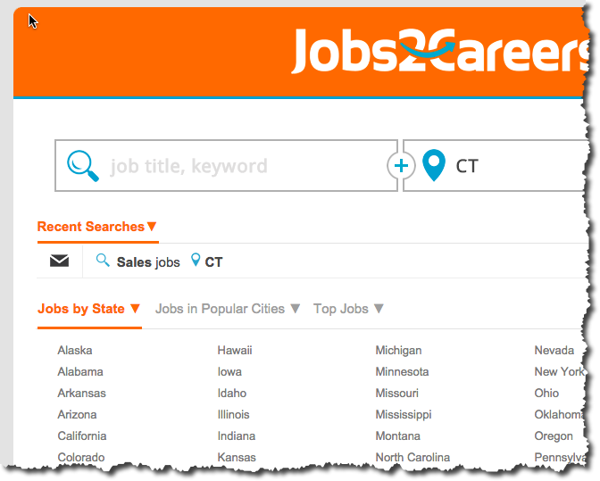 I prefer job sites that break out location links right on the homepage for easy access.