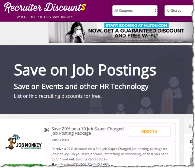 recruiter discounts and deals